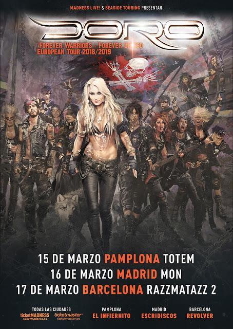 Conciertos de Doro en Pamplona, Madrid y Barcelona