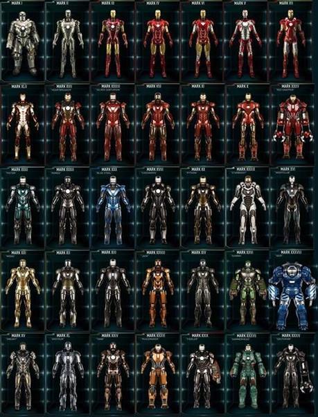 Los modelos de las armaduras de Iron Man