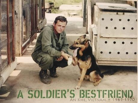 Dave Rude con su perro Princess en Vietnam. Rude era