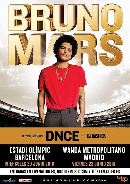 Teloneros de los conciertos de Bruno Mars en Barcelona y Madrid: DNCE y DJ Rashida