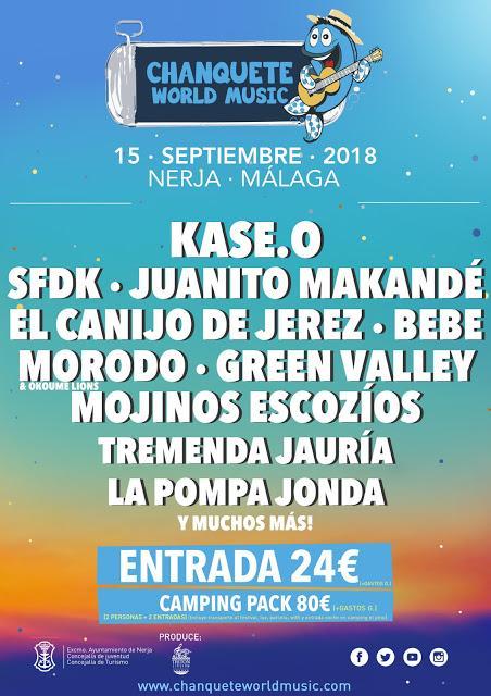 Chanquete World Music 2018: El Canijo de Jerez, SFDK, Bebe, Green Valley, Mojinos Escozíos...