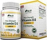 Vitamina D3 3000 UI 365 Cápsulas Blandas (Suministro Para Todo el Año) Suplemento de Vitamina D3 Tres Veces Más Concentrado, Colecalciferol de Alta Absorción, Libre de Gluten Y Lácteos, por Nu U Nutrition