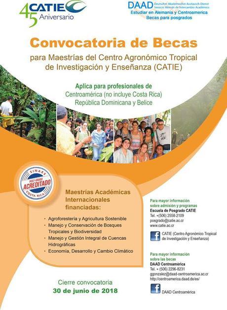 Becas para maestría en CATIE, Costa Rica