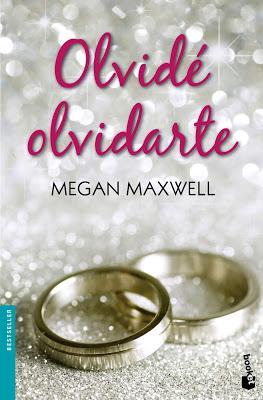 Portada de Olvidé olvidarte de Megan Maxwell donde se ven dos alianzas de plata en un fondo con purpurina.