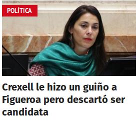 Crexell le hizo un guiño a Figueroa pero descartó ser candidata