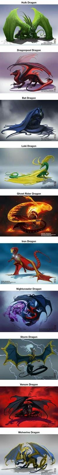 Personajes de DC y Marvel, como dragones