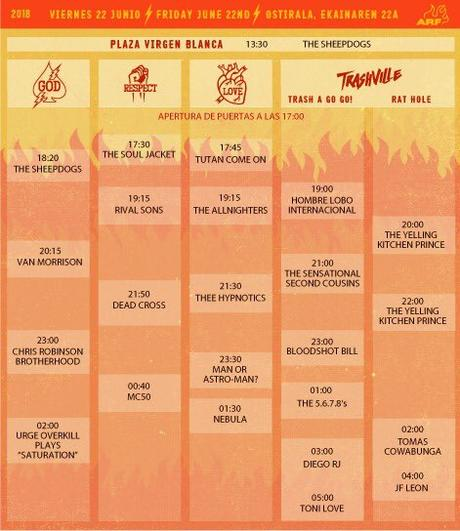 Horarios del Azkena Rock Festival 2018