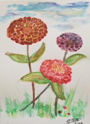 Flores en acuarela 12x20cm