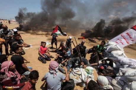 Manifestantes en el este de Rafah arrojando piedras a las fuerzas de Tzáhal con una honda grande (página de Facebook de QUDSN, 14 de mayo de 2018)