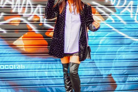 Botas altas negras + Blazer terciopelo
