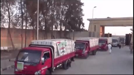 Entrada de ayuda humanitaria desde Egipto a la Franja de Gaza a través del cruce de Rafah (Dar al-Maref en YouTube, 26 de mayo de 2018)
