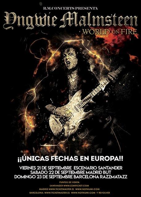 Conciertos de Yngwie Malmsteen en septiembre en Santander, Madrid y Barcelona
