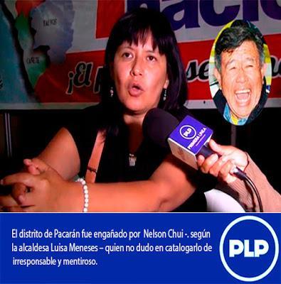 NELSON CHUI ESTAFÓ A PACARÁN…