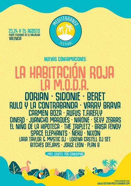 El Mediterránea Festival 2018 confirma a La Habitación Roja y La M.O.D.A.