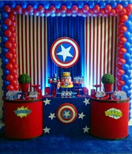 Centro De Mesa Capitán América: Fiesta Temática De Capitán América