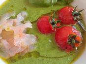 Salmorejo verde tomatitos cherry carpaccio gambas blancas malaga