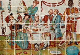 Cuadro de azulejos de la época.