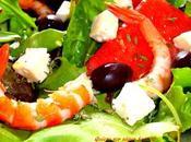 Ensalada sandia, queso feta, gambas olivas negras