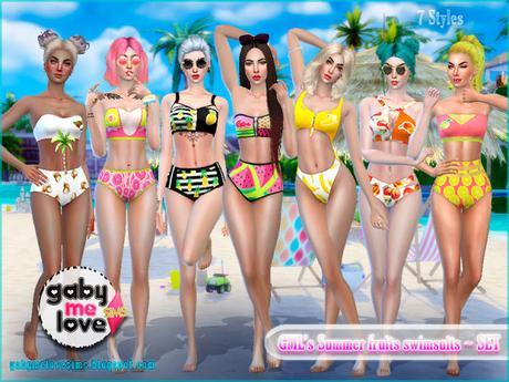 GML's Summer fruits swimsuits ~ SET - Gabymelove Sims
