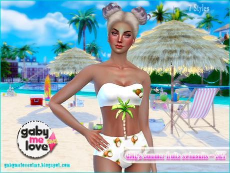 GML's Summer fruits swimsuits ~ Coconut - Gabymelove Sims