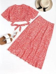 Conjunto de falda estampada y falda maxi