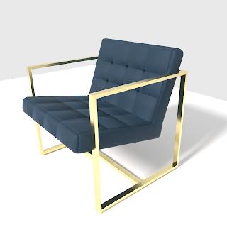 Nuevo diseño en 3d de una silla azul