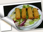 Rollitos vegetales maheso acompañados canape solomillo queso cabra cebolla caramelizada