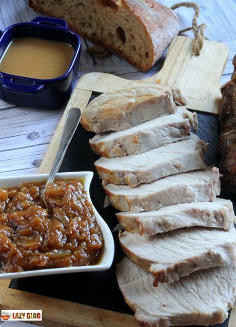 Cabecero de lomo con salsa de vino dulce y cebolla caramelizada, receta para invitar a tu madre
