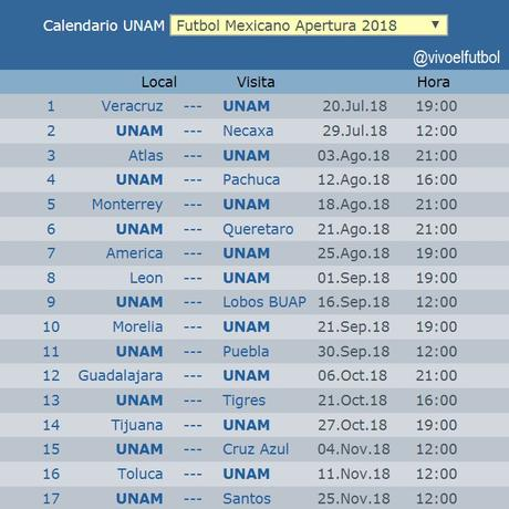 Calendario de los Pumas apertura 2018