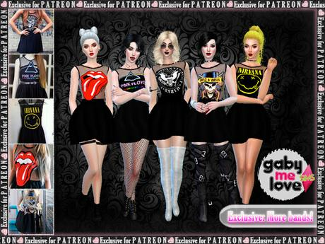 Guns N' Roses Dresses (Sims 4) Exclusive Content for Patreons: More Bands - Gabymelove Sims