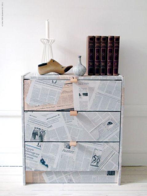 Una cajonera forrada con papel de periodico paperblog - Mueble cajonera ikea ...