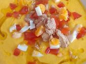 Porra antequerana tomate amarillo mermelada huevo toro