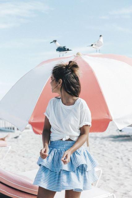 estilo playa falda volantes