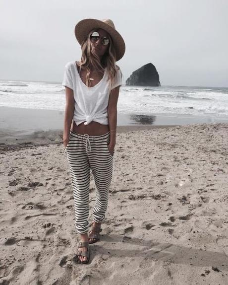 estilo playa pantalones rayas