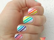 Neon stripes uñas neón