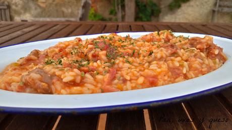 arroz-longaniza-thermomix-pan, uvas y queso