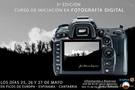 Cartel Curso de iniciacion en Fotografia digital en Picos de Europa, Cantabria por JA Izaguirre