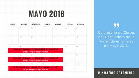 calendario cortes desfiladero de la hermida mayo 2018