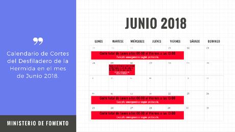 Calendario Cortes Desfiladero de la Hermida Junio 2018