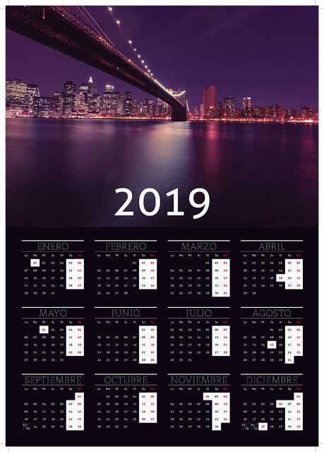 Calendario Indesign.Plantillas De Calendarios 2019 Para Imprimir Indesign Gratis