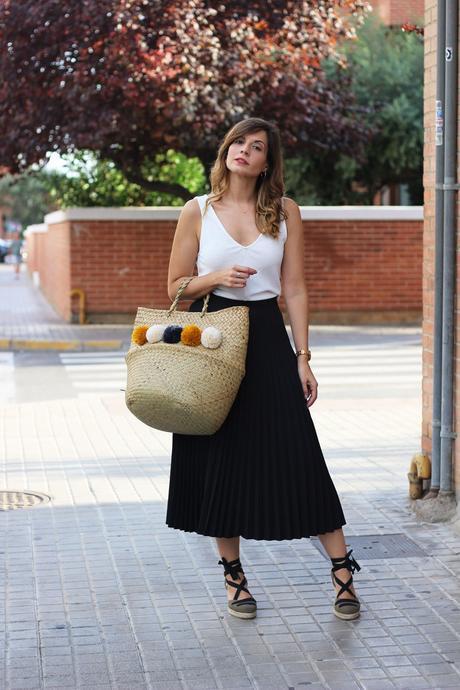 alpargatas esparto mujer calzados ercilla y falda plisada midi