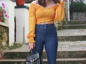 Crop mostaza jeans tiro alto