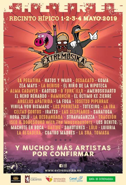 Extremúsika 2019: La Pegatina, Natos y Waor, Desakato, Toteking, Saratoga, La Fuga, Celtas Cortos, Koma, El Niño de la Hipoteca...