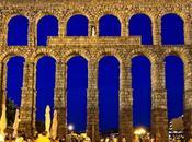 Acueducto romano Segovia viste cuando noche