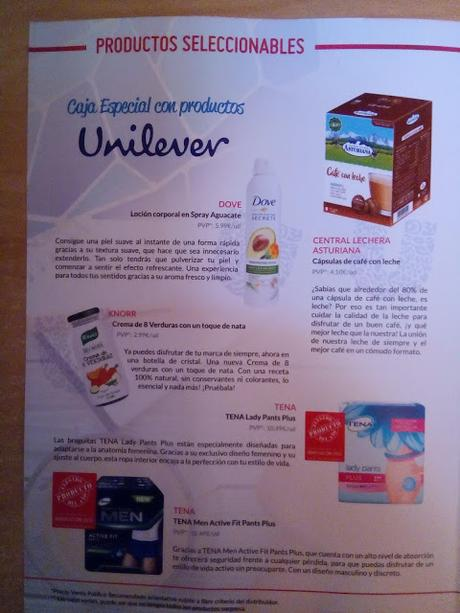 Productos seleccionables de la Testabox