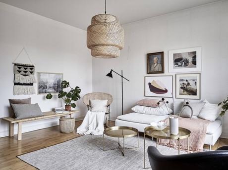 rosa milenial lámparas de mimbre lamparas de ikea lámparas de diseño lámparas de bambú lámpara sinnerlig Ikea diseño sueco diseño escandinavo decoración piso pequeño