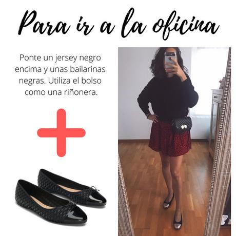 zapatos planos bailarinas negras vestido zara riñonera negra