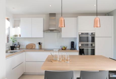 lamparas cobre cocina
