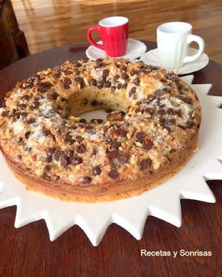 coffecake de chocolate y nueces