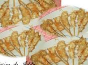 Langostinos empanados fideos arroz